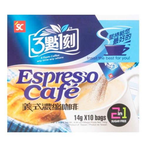 3:15PM 2 in 1 Espresso Cafe Sugar Free 14g X 10Bags